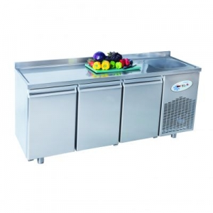 CSN3-E Triple Door Refrigerated Counter With End Sink